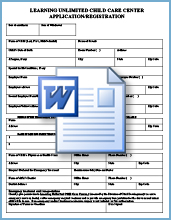 Learning Unlimited Child Care application form Word Doc