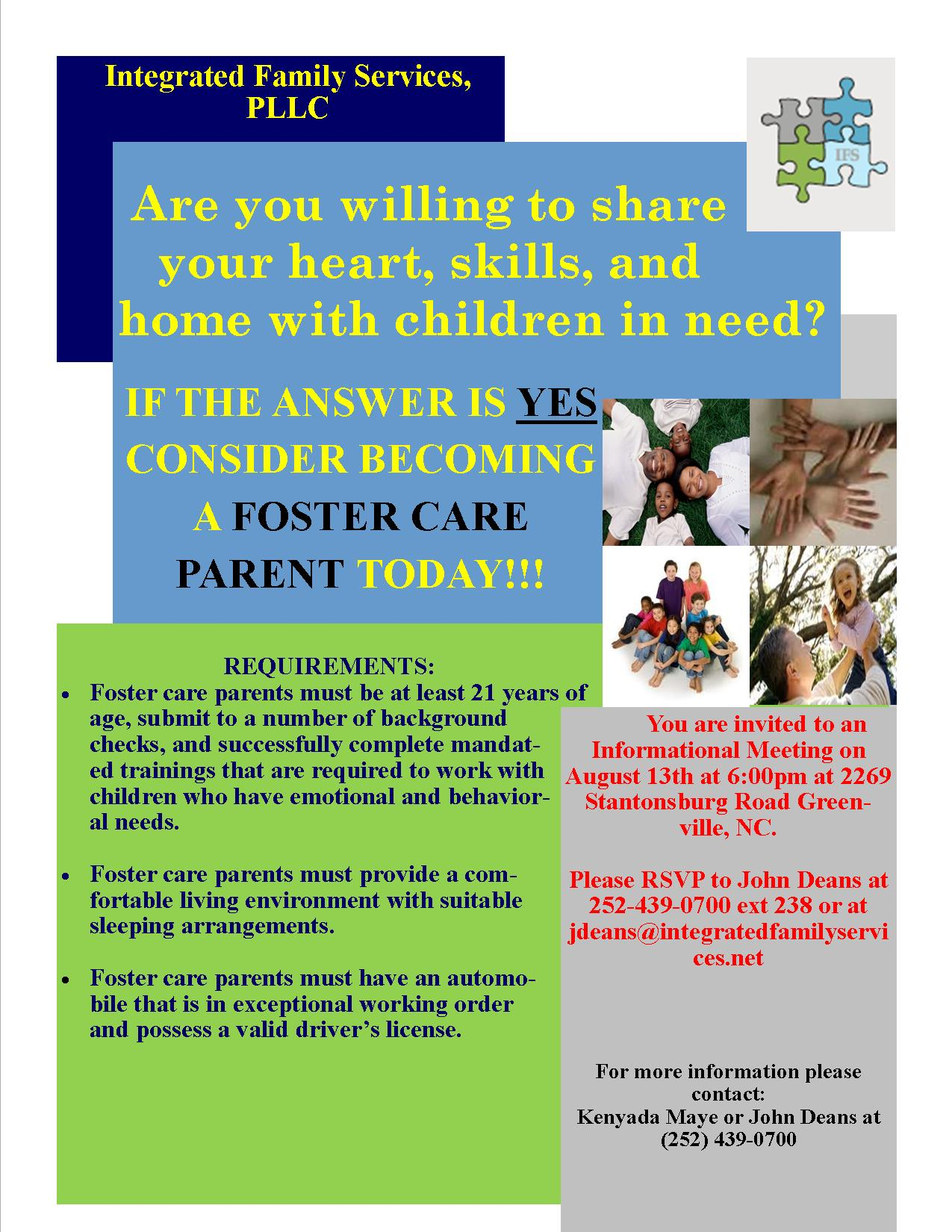 fostercare informational meeting flyer integrated family services